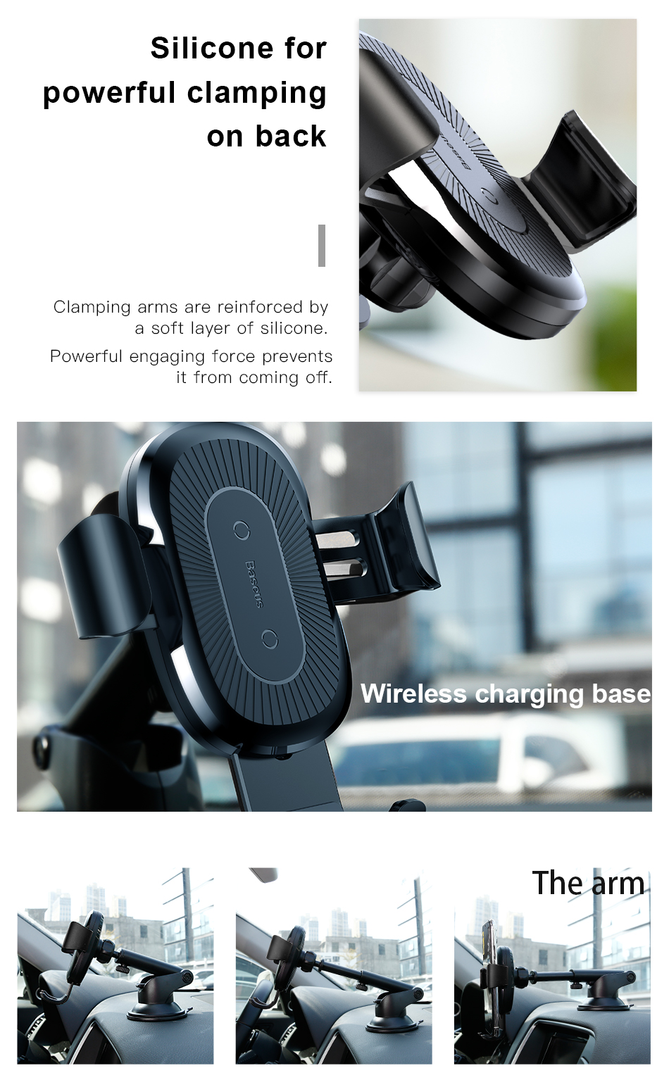 Baseus Qi Wireless Charger Car Holder For iPhone X 8 Suction Cup Wireless Charging Car Phone Holder (No Air Vent)