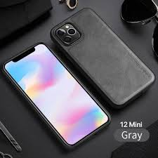 X-Level Retro Leather Silicon Edge Case For iPhone 12/12 pro /Grey
