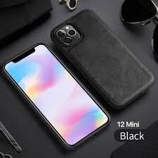 X-Level Retro Leather Silicon Edge Case For iPhone 12 Mini /Black