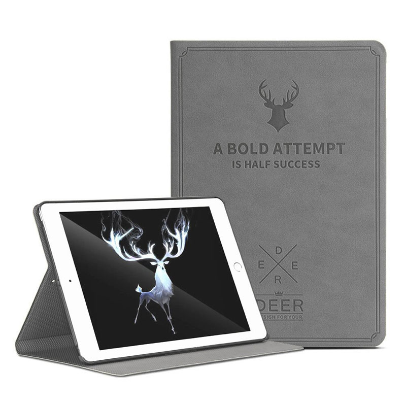 DEER Bold Attempt Leather Case for iPad 10.2 / Grey