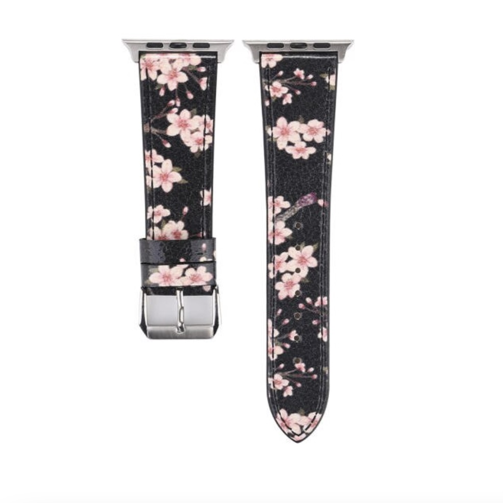 Floral Leather Strap for Apple Watch 38/40 mm- Black/Plum Flower