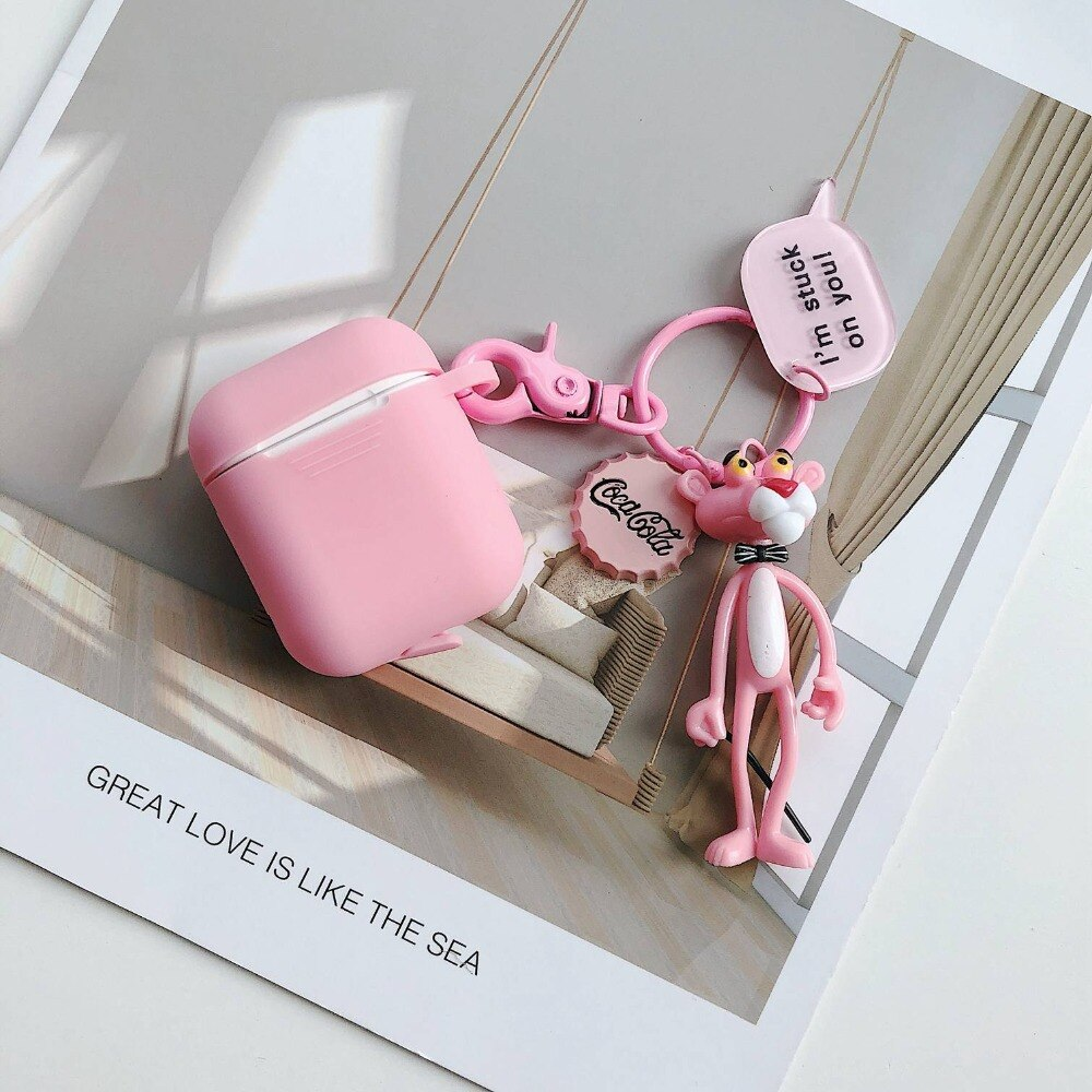 Pink Panther Doll- Cute Cartoon Soft Silicone Doll Case AirPods 1/2