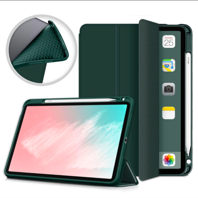 iPad 10.9 Air 4 ShockProof Folio Silicon Case With Pencil Holder-Green