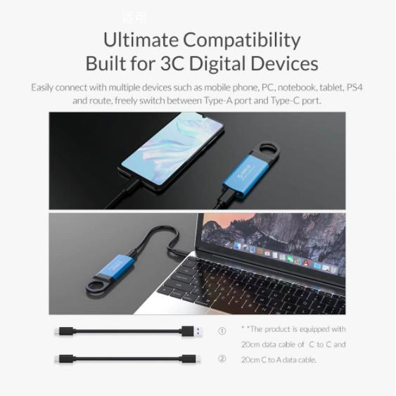 Orico Mini External SSD NVME Hard Drive 1TB