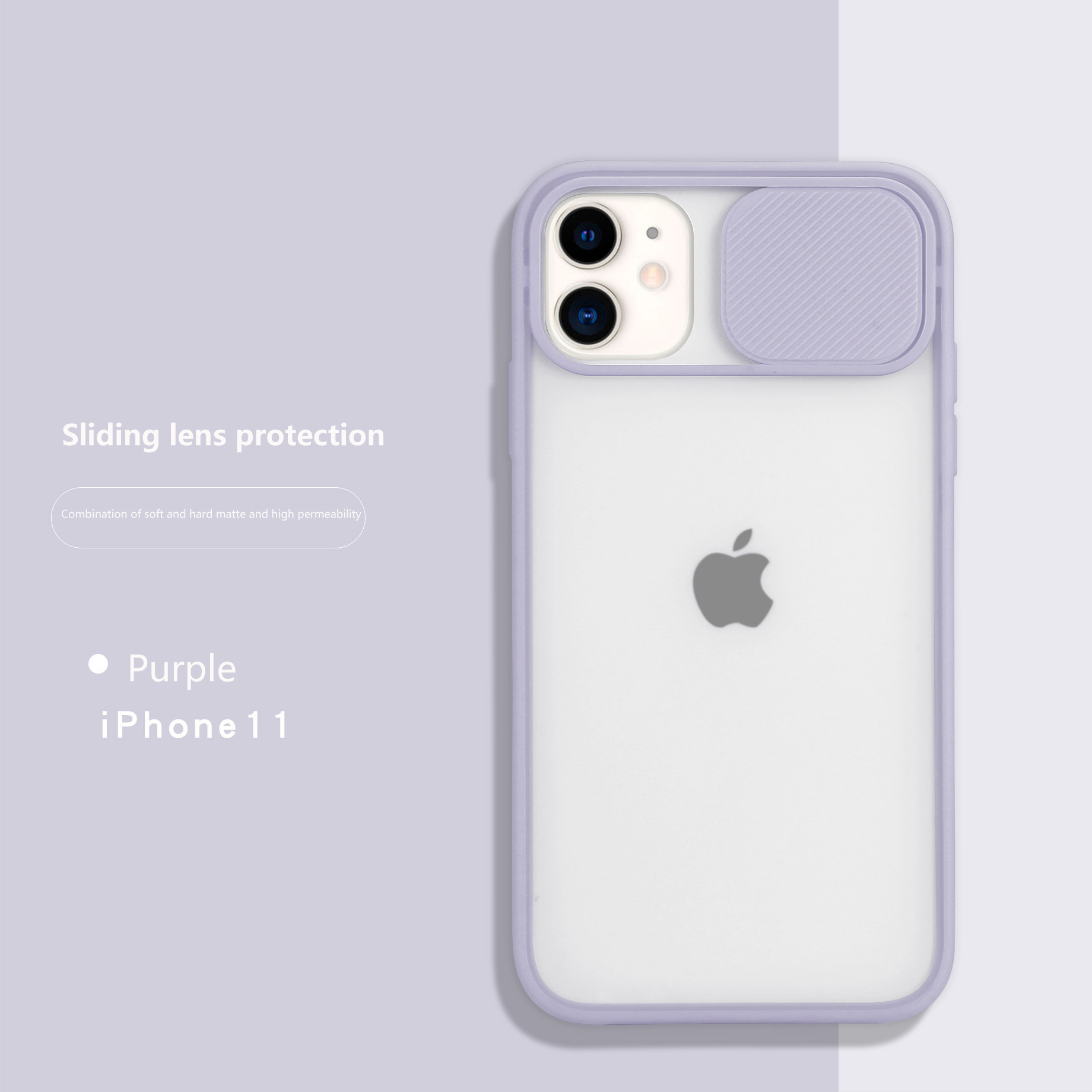 Camera Lens Protection iPhone 11 Clear Case-Lilac Purple Frame